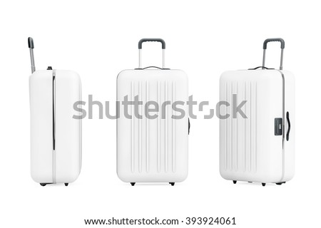 Large White Polycarbonate Suitcases on a white background - stock photo
