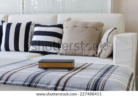 large white sofa in living room at home - stock photo