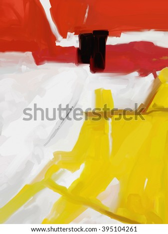 Large White, Yellow and Red Abstract digital painting. - stock photo
