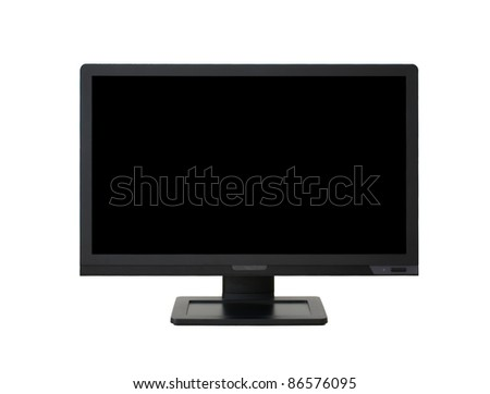 Large wide-angle LCD computer monitor/ television isolated on white background.