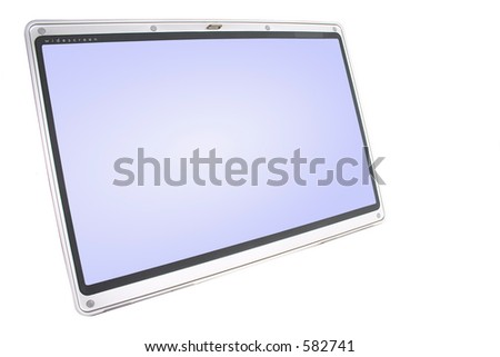 Large widescreen laptop monitor with clipping paths (screen and border) included.