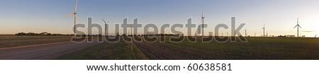 Large wind farm panorama - stock photo