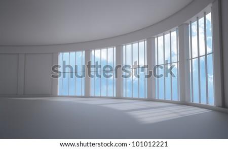 Large window empty interior view - stock photo