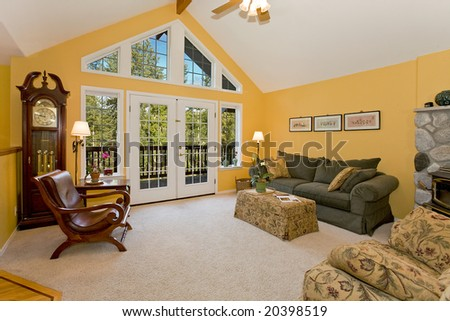 Large Window Living Room - stock photo