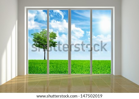 Large window with view to a beautiful landscape - stock photo