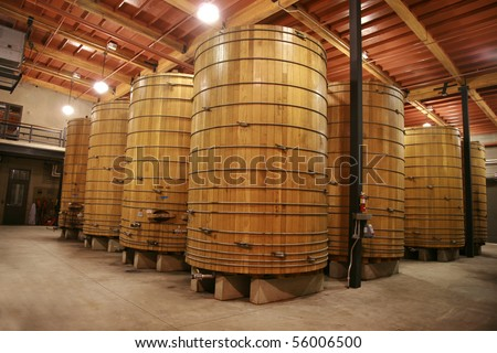 large wine oak oak wine vats inside a modern winery