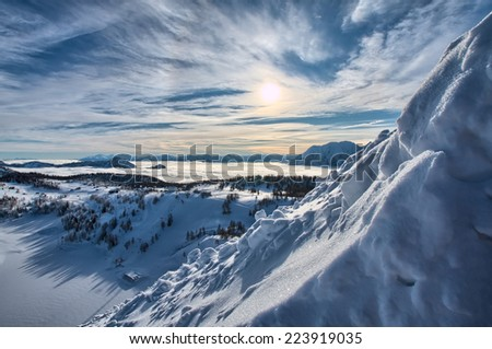 Large winter view at the mountains Alps Austria - stock photo