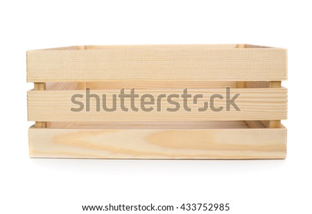 large wooden crate isolated on white background front and top view
