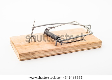 large wooden mousetrap photo on a light background - stock photo