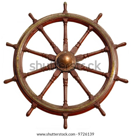 Large wooden ship wheel, isolated on white.