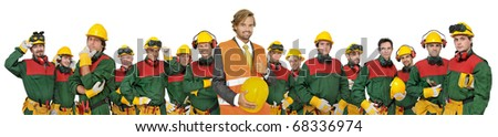 Large workers team isolated in white - stock photo