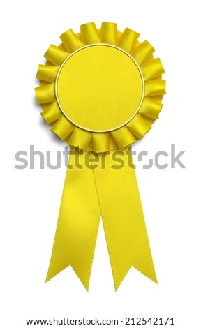 Large Yellow Award Ribbon With Copy Space Isolated on White Background. - stock photo