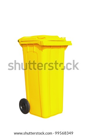 Large yellow garbage bin with wheel in white background - stock photo