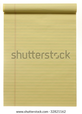 Large yellow lined legal pad, isolated on white.  Great for background and text. - stock photo