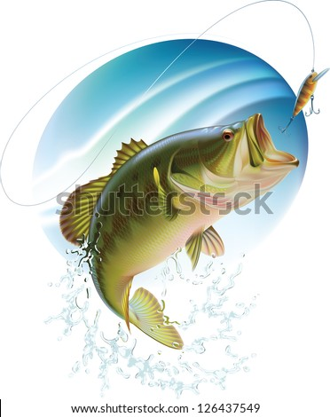 Largemouth bass is catching a bait and jumping in water spray. Raster image. Find editable version in my portfolio. - stock photo