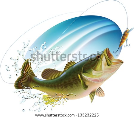 Largemouth bass is catching a bite and jumping in water spray. Raster image. Find editable version in my portfolio. - stock photo