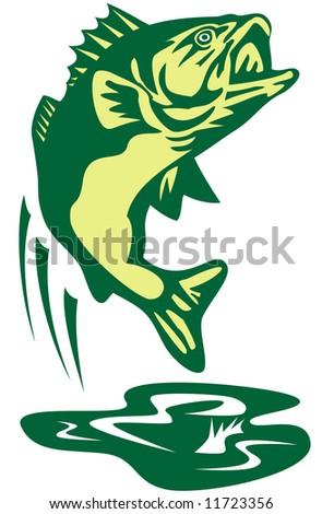 Largemouth bass jumping - stock photo