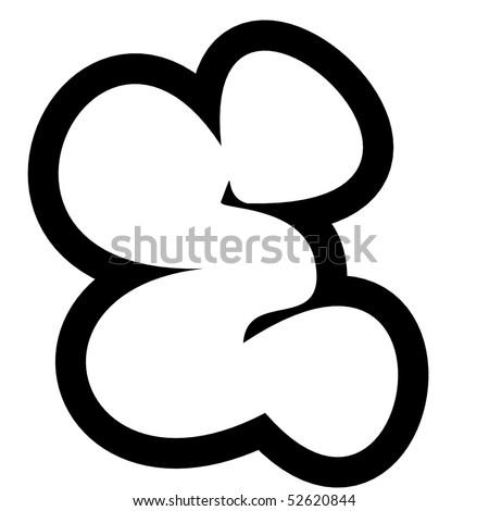 Larger black and white line render of graffiti alphabet bubble font e