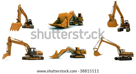 Larger orange digger isolated on white background - stock photo