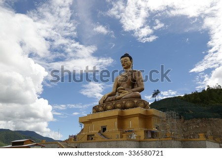 Largest Buddha Bronze Statue in Thimphu, Bhutan. - stock photo
