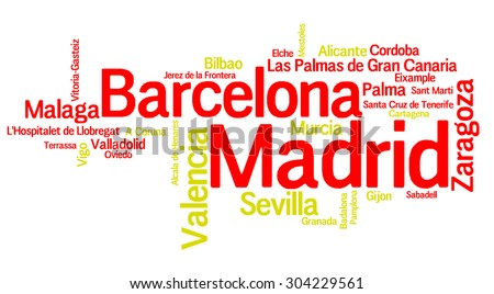 Largest Cities of Spain - stock photo