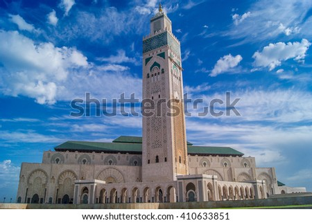 Largest mosque in Morocco with tallest minaret, touristic and religious attraction, Casablanca Africa. / Morocco Casablanca mosque Hassan II. - stock photo