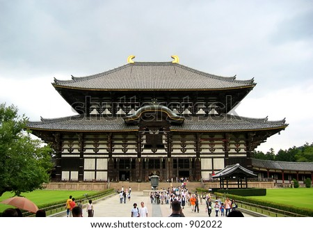 largest wooden temple in japan - stock photo