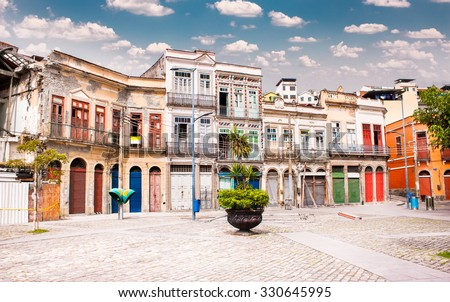 Largo de Sao Francisco da Prainha square in  the center of Rio de Janeiro, Brazil.  - stock photo