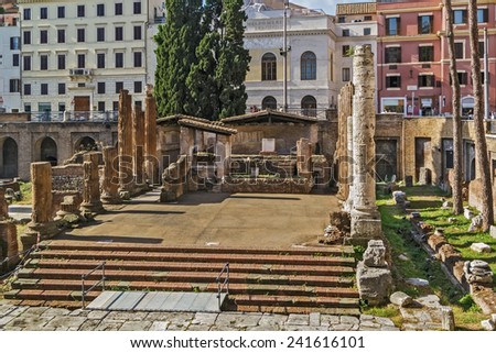 Largo di Torre Argentina is a square in Rome, Italy, that hosts four Republican Roman temples, and the remains of Pompey's Theatre. It is located in the ancient Campus Martius - stock photo