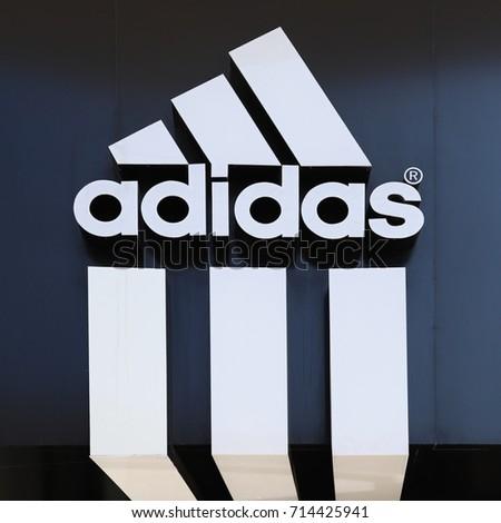 LARNACA, CYPRUS - SEPTEMBER 5 2017: Adidas logo on store in Larnaca city centre
