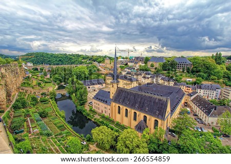 Larochette is a commune and town in central Luxembourg, in the canton of Mersch. It is situated on the White Ernz river. The town is dominated by the partly ruined Larochette Castle - stock photo