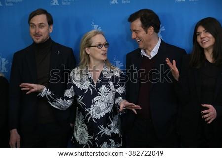 Lars Eidinger, Meryl Streep, Clive Owen,  attend the International Jury photo call during the 66th Berlinale Film Festival Berlin at Grand Hyatt Hotel on February 11, 2016 in Berlin, Germany. - stock photo