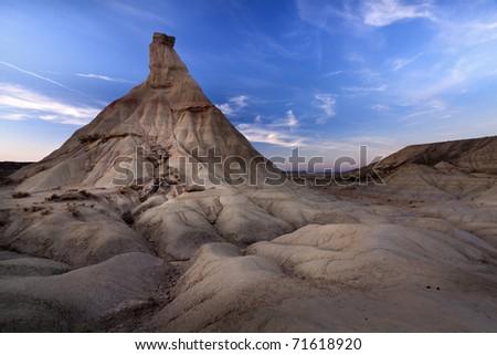 Las Bardenas Reales desert (Navarra,Spain) - stock photo