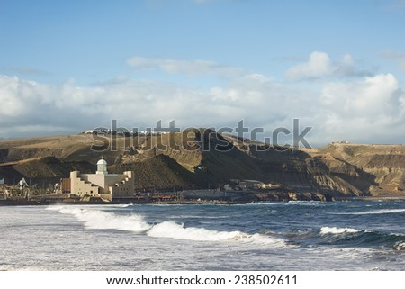 Las Canteras beach, Canary Islands - famous beach in Spain - stock photo