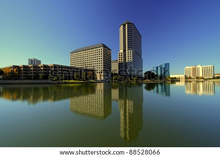 Las Colinas downtown drenched in late afternoon sun. Las Colinas is a suburb of Dallas, Texas.