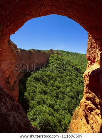 Las Medulas, Roman gold mines, UNESCO, Leon, Spain - stock photo