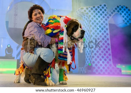 LAS PALMAS - FEBRUARY 16: Dog from Canary Islands performs onstage during the Carnival's Dogs Contest February 16, 2010 in Las Palmas, Spain