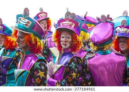 "LAS PALMAS - February 13: Music and dancer groups in colorful costumes take part in the Las Canteras beach carnival parade ""Carnaval al Sol"", February 13, 2016 in Las Palmas, Gran Canaria, Spain - stock photo"