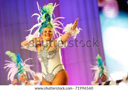 LAS PALMAS - FEBRUARY 20: Tumbao Rockefeller from Canary Islands, performs onstage during the carnival' dance group competition for adults February 20, 2011 in Las Palmas, Spain