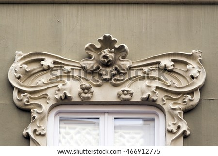LAS PALMAS, GRAN CANARIA, SPAIN - JULY 30, 2016: Architectural detail on the facade of an art deco building on the street Triana