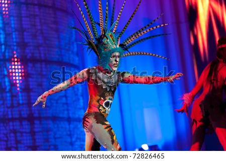 LAS PALMAS - MAR 8: Toni Guerrero Suarez from Canary Islands performs onstage during the Carnival's Body Painting Contest on March 8, 2011 in Las Palmas, Spain