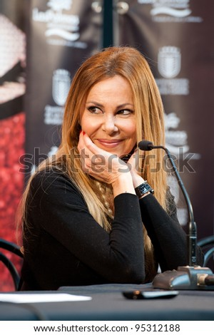 LAS PALMAS, SPAIN - FEBRUARY 16: Actor, dancer, TV-host, singer and writer Ana Obregon, from Madrid, during press meeting for  tomorrow's Drag Queen show on February 16, 2012 in Las Palmas, Spain