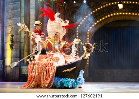 LAS PALMAS , SPAIN - FEBRUARY 7: Juan Lola Suarez Rodriguez, from Canary Islands, perform during the Adult Costume Competition, for individuals, on February 7, 2013 in Las Palmas, Spain