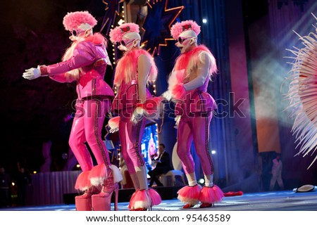 LAS PALMAS ,SPAIN - FEBRUARY 17: Juan Ramon Espinosa Armas(l), from Canary Islands, perform as Drag Pompi onstage during The Carnival's Drag Queen Gala on February 17, 2012 in Las Palmas, Spain