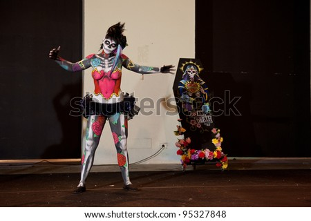 LAS PALMAS, SPAIN - FEBRUARY 15: Lucia Julia Garcia Morano, from Canary Islands, perform during Body Painting Competition on February 15,2012 in Las Palmas, Spain