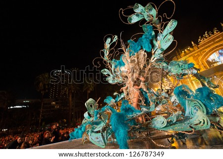LAS PALMAS, SPAIN - FEBRUARY 1: Queen Cristina Vega from Canary Islands performs onstage during the carnival Queens Gala on February 1, 2013 in Las Palmas, Spain. - stock photo