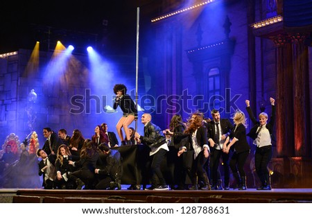 LAS PALMAS ,SPAIN - FEBRUARY 15: Singer Brequette Shane (m), from Canary Islands, with unidentified dancers onstage during the Carnival's Drag Queen Gala on February 15, 2013 in Las Palmas, Spain