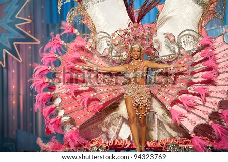 LAS PALMAS, SPAIN - FEBRUARY 3: The queen Yurena Rodrrguez García from Canary Islands performs onstage during the carnival Queens Gala on February 3, 2012 in Las Palmas, Spain. - stock photo