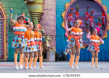 LAS PALMAS, SPAIN - FEBRUARY 23: Unidentified children from Agustin Hernandez Dias de Moya from Canary Islands, onstage during Children's Costume performance, on February 23, 2014 in Las Palmas, Spain - stock photo
