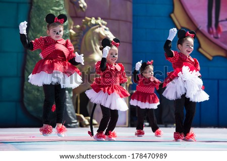 LAS PALMAS, SPAIN - FEBRUARY 23: Unidentified children from  ballet Silvia Barrera from Canary Islands, onstage during Children's Costume performance, on February 23, 2014 in Las Palmas, Spain - stock photo